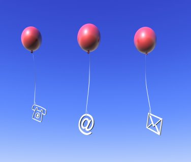 Telephone email and mail symbols hanging from balloons